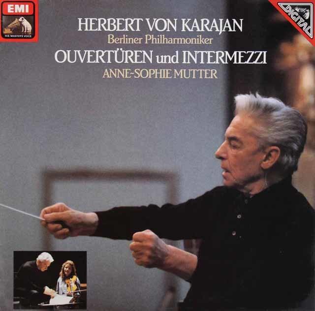 カラヤン&ムターのオペラ序曲、間奏曲集 独EMI 3209 LP レコード
