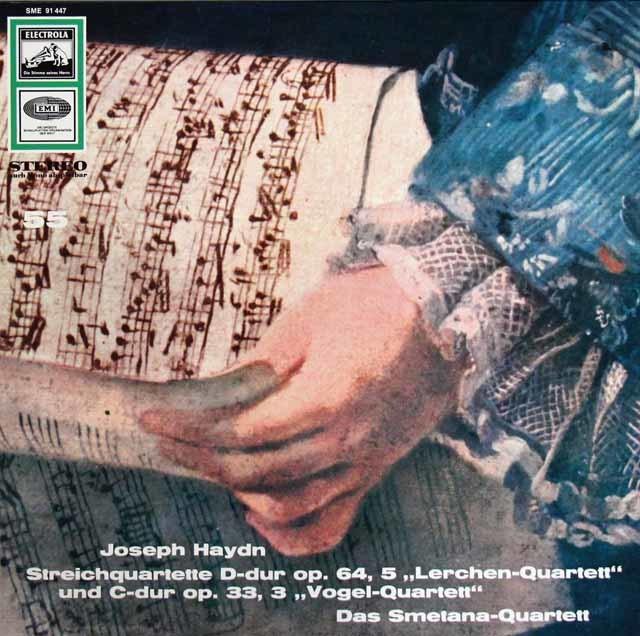 スメタナ四重奏団のハイドン/弦楽四重奏曲第63番「ひばり」&第39番「鳥」 独EMI 3209 LP レコード