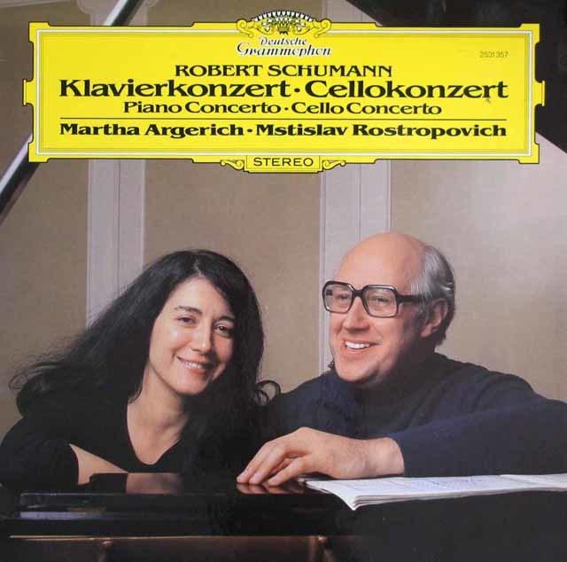アルゲリッチ&ロストロポーヴィチのシューマン/ピアノ協奏曲&チェロ協奏曲 独DGG 3209 LP レコード