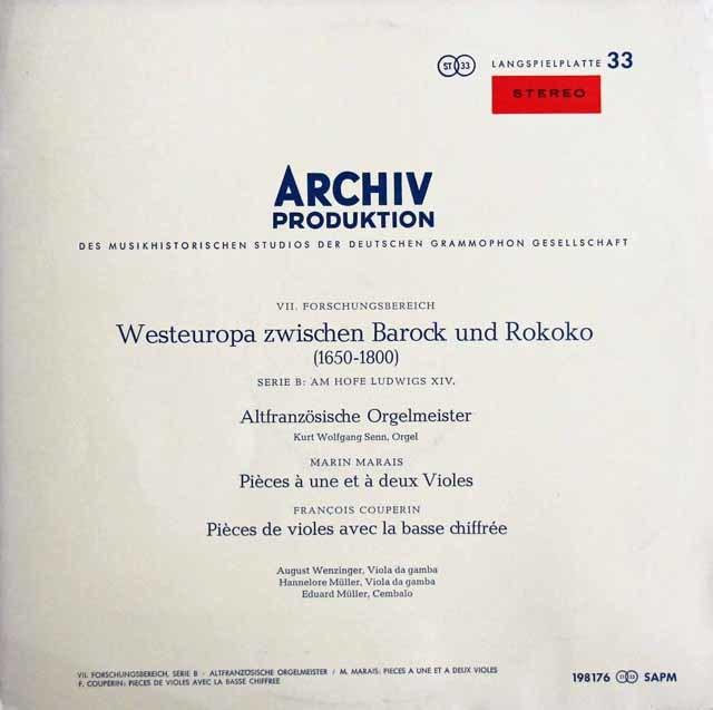 【赤ステレオ】 バロックからロココ時代の間の西ヨーロッパ(1650-1800) (ヴェンツィンガーらのマレ&クープラン/ヴィオール作品集ほか) 独ARCHIV 3209 LP レコード