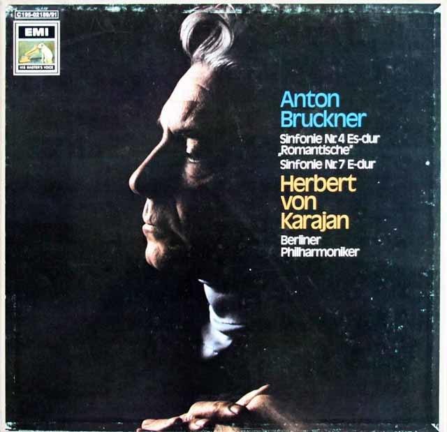 カラヤンのブルックナー/交響曲第4番「ロマンティック」&第7番 独EMI 3209 LP レコード