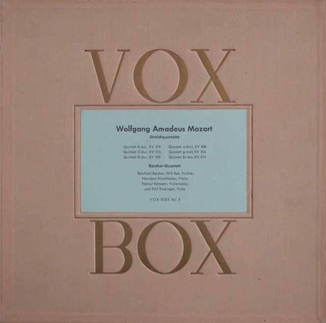 バルヒェット四重奏団のモーツァルト/弦楽五重奏曲全集 独VOX 3209 LP レコード