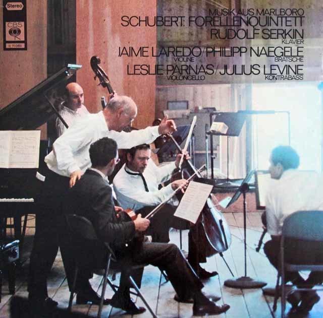 ゼルキンらのシューベルト/ピアノ五重奏曲「鱒」 独CBS 3210 LP レコード