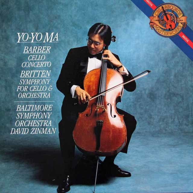 ヨーヨー・マ&ジンマンのバーバー&ブリテン/チェロ協奏曲集 蘭CBS 3211 LP レコード