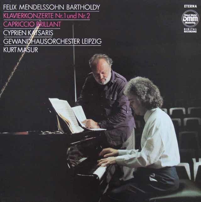 カツァリス&マズアのメンデルスゾーン/ピアノ協奏曲第1&2番  独ETERNA 3211 LP レコード