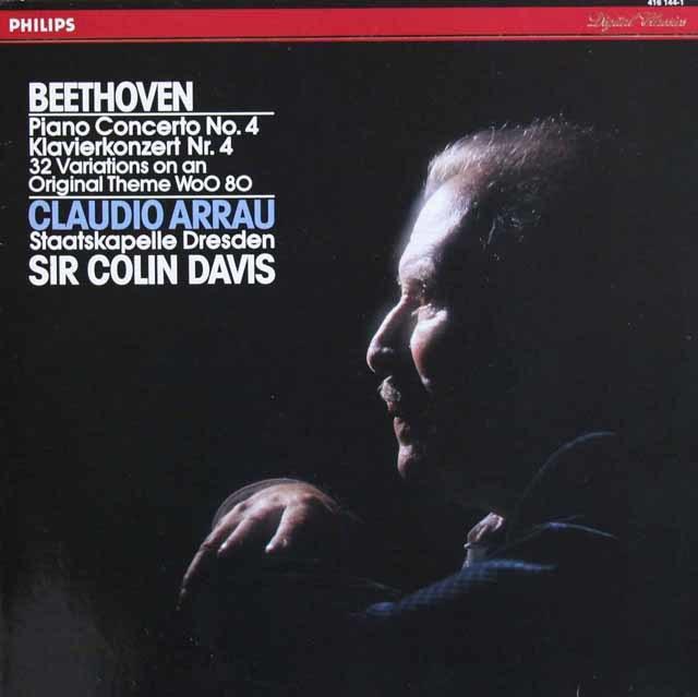 アラウ&デイヴィスのベートーヴェン/ピアノ協奏曲第4番ほか 蘭PHILIPS 3211 LP レコード