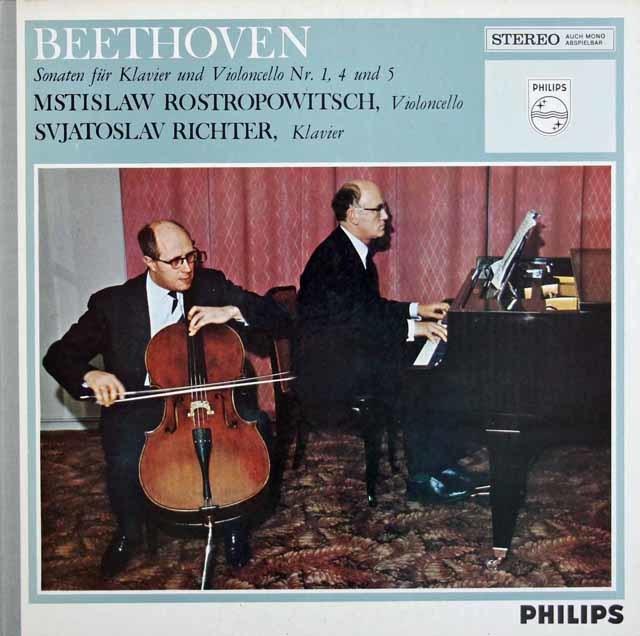 ロストロポーヴィチ&リヒテルのベートーヴェン/チェロソナタ第1番、4番、5番 蘭PHILIPS 3211 LP レコード