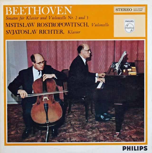 ロストロポーヴィチ&リヒテルのベートーヴェン/チェロソナタ第2番、3番 蘭PHILIPS 3211 LP レコード