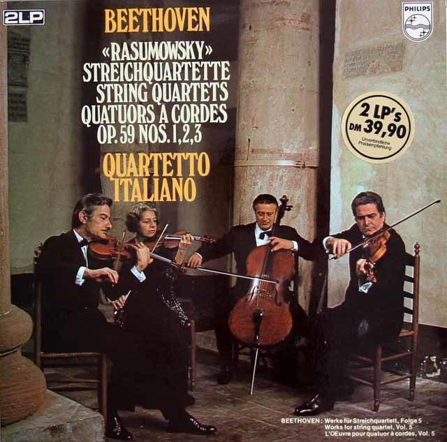 イタリア四重奏団のベートーヴェン/ラズモフスキー四重奏曲 蘭PHILIPS 3212 LP レコード
