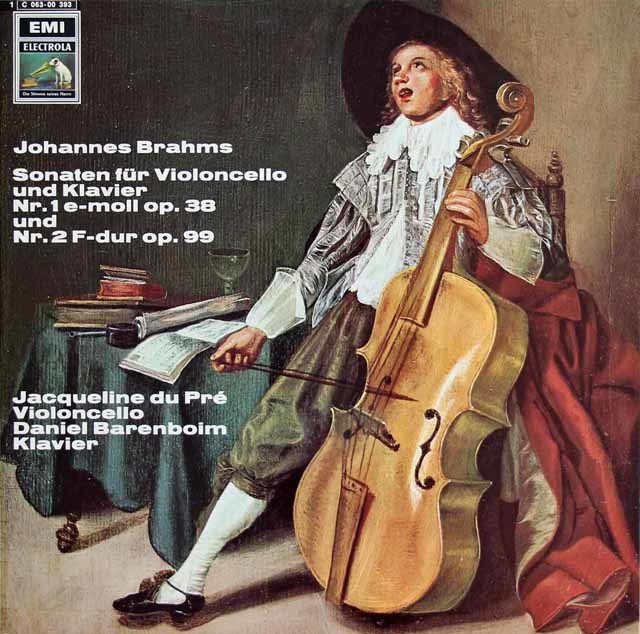 デュ・プレ&バレンボイムのブラームス/チェロソナタ第1&2番 独EMI 3212 LP レコード