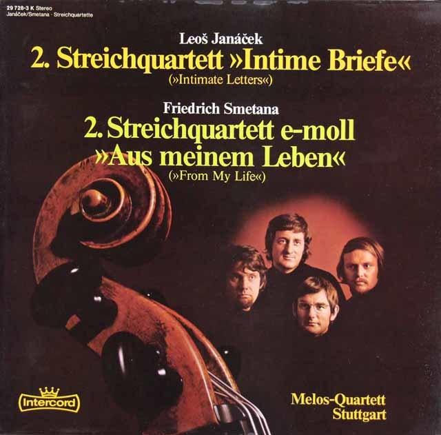メロス四重奏団のヤナーチェク&スメタナ弦楽四重奏曲集 独Intercord 3212 LP レコード