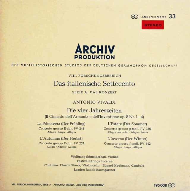 【赤ステレオ/10インチ盤】 シュナイダーハン&バウムガルトナーのヴィヴァルディ/「四季」 独ARCHIV 3212 LP レコード