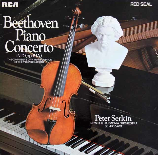 P.ゼルキン&小澤のベートーヴェン/ピアノ協奏曲ニ長調(ヴァイオリン協奏曲ピアノ版) 独RCA 3212 LP レコード