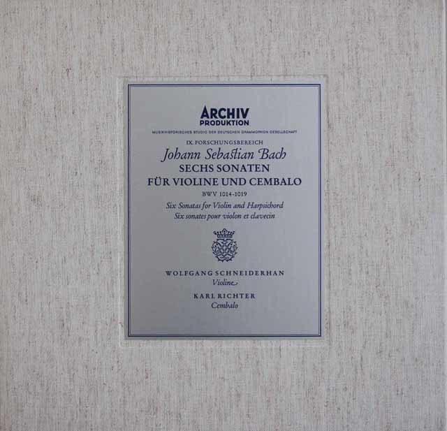 シュナイダーハン&リヒターのバッハ/ヴァイオリンとチェンバロのためのソナタ 独ARCHIV 3212
