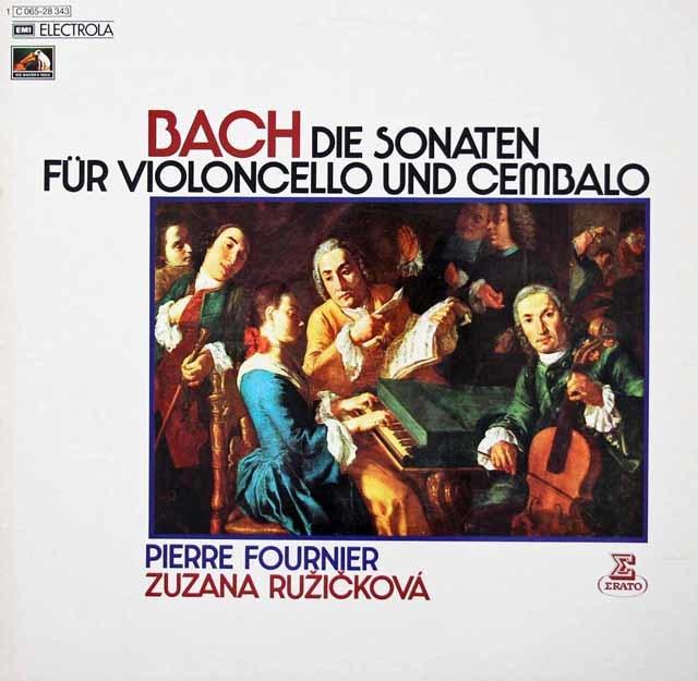 フルニエ&ルージチコヴァーのバッハ/チェロとチェンバロのためのソナタ集 独EMI 3213 LP レコード