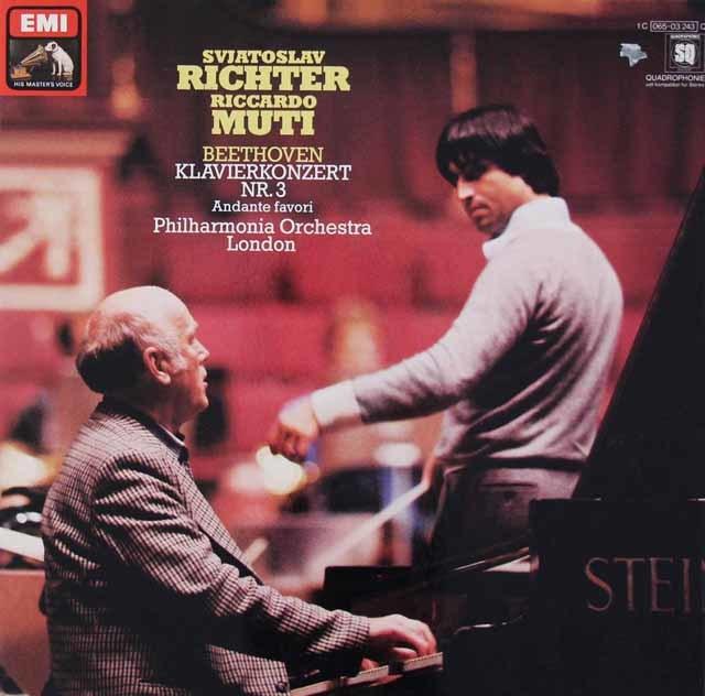 リヒテル&ムーティのベートーヴェン/ピアノ協奏曲第3番ほか 独EMI 3213 LP レコード