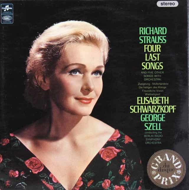 【オリジナル盤】 シュヴァルツコップ&セルのR.シュトラウス/4つの最後の歌ほか 英Columbia 3214 LP レコード