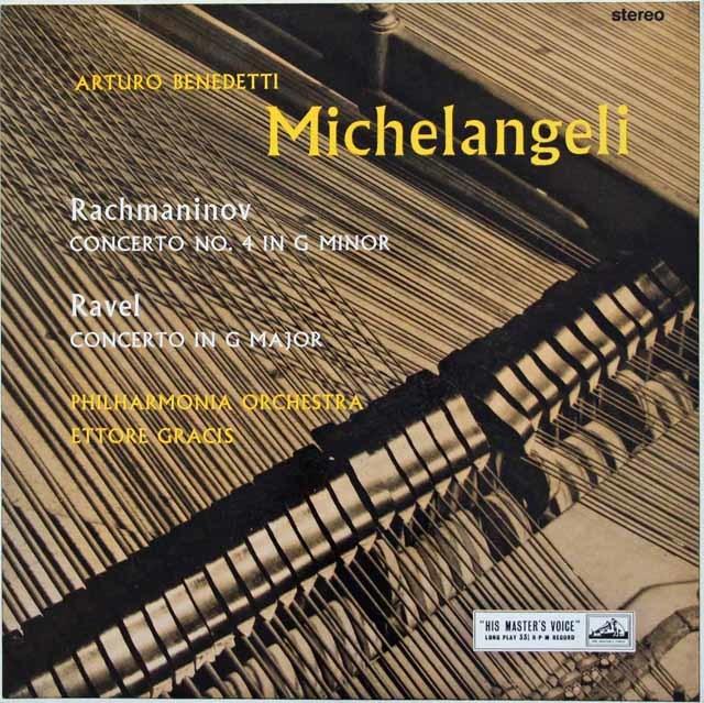 ミケランジェリ&グラチスのラフマニノフ&ラヴェル/ピアノ協奏曲集 英EMI 3214 LP レコード