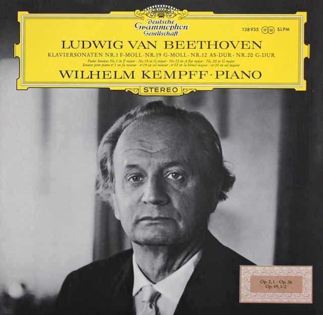 ケンプのベートーヴェン/ピアノソナタ第1・12・19・20番   独DGG  3214 LP レコード