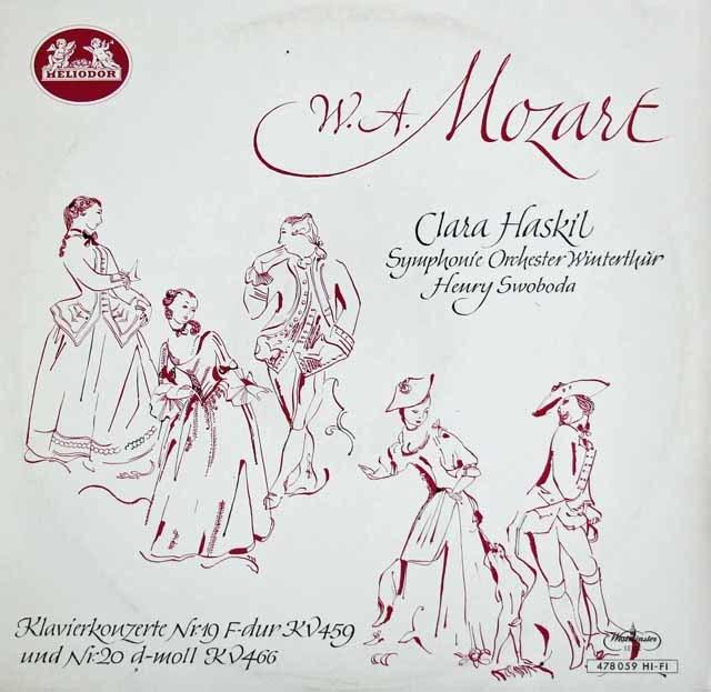 ハスキルのモーツァルト/ピアノ協奏曲第19&20番 独HELIODOR 3214 LP レコード
