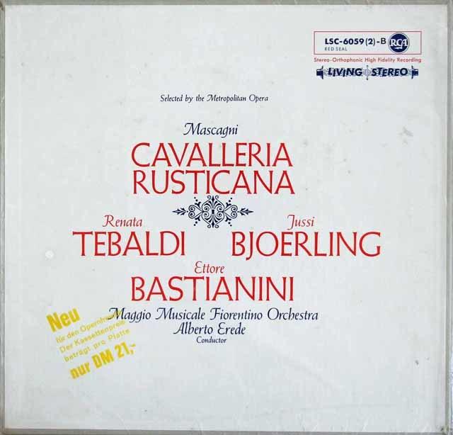 【未開封】 テバルディらのマスカーニ/「カヴァレリア・ルスティカーナ」 独RCA 3214 LP レコード