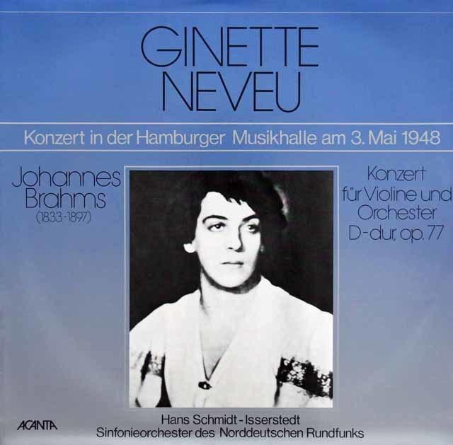 ヌヴー&イッセルシュテットのブラームス/ヴァイオリン協奏曲 独ACANTA 3215 LP レコード