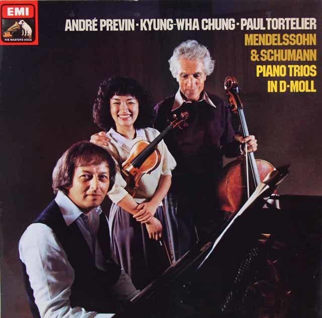 チョン、トルトゥリエ、プレヴィンのメンデルスゾーン&シューマン/ピアノ三重奏曲集 独EMI 3215 LP レコード