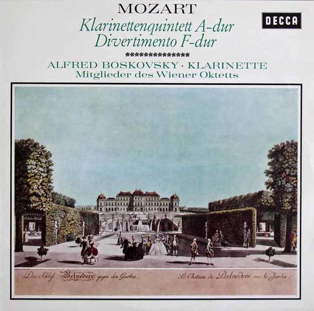 ウィーン・オクテットのモーツァルト/クラリネット五重奏曲ほか 独DECCA 3216 LP レコード
