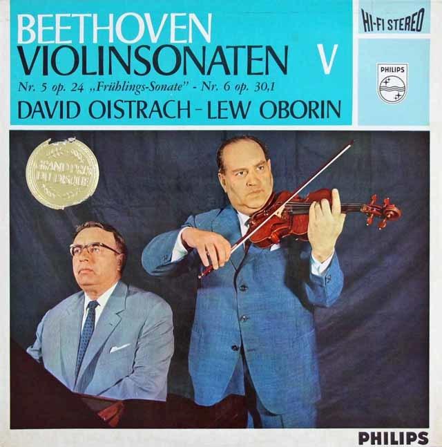 オイストラフ、オボーリンのベートーヴェン/ヴァイオリンソナタ第5番「春」、第6番 蘭PHILIPS 3216 LP レコード