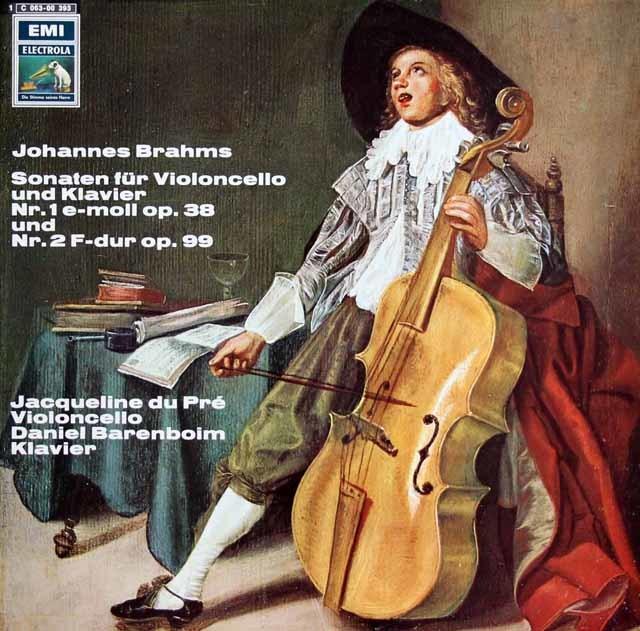 デュ・プレ&バレンボイムのブラームス/チェロソナタ第1&2番 独EMI 3217 LP レコード