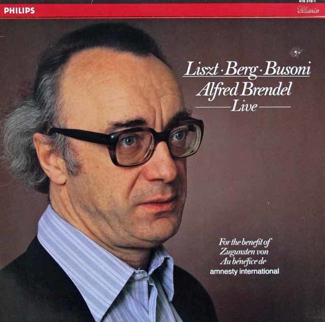 ブレンデルのリスト、ベルク&ブゾーニ小品集(ライヴ録音) 蘭PHILIPS 3218 LP レコード