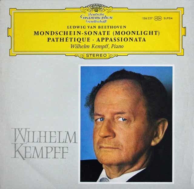 【独最初期盤】 ケンプのベートーヴェン/ピアノソナタ「月光」、「悲愴」、「熱情」 独DGG 3218 LP レコード