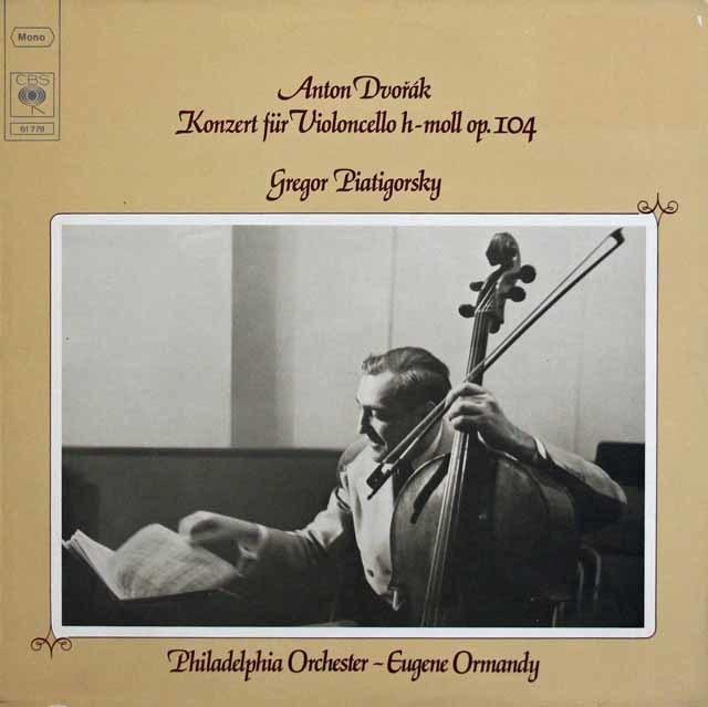 ピアティゴルスキー&オーマンディのドヴォルザーク/チェロ協奏曲 独CBS 3218 LP レコード