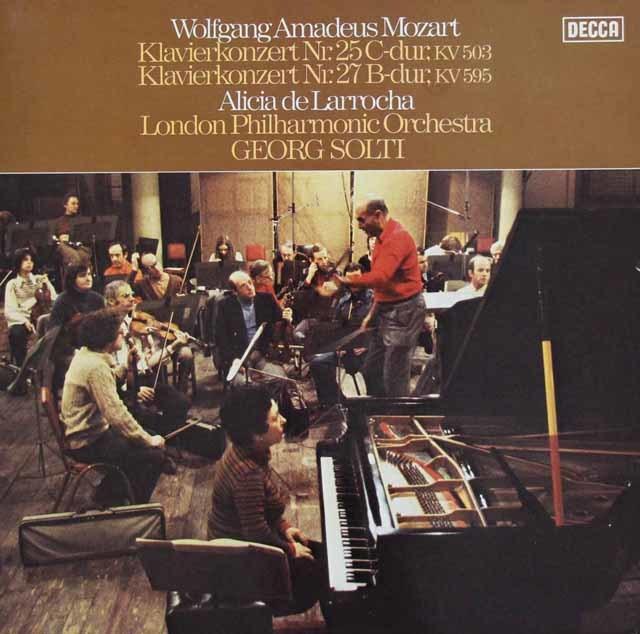 ラローチャ&ショルティのモーツァルト/ピアノ協奏曲第25番、第27番 独DECCA 3218 LP レコード