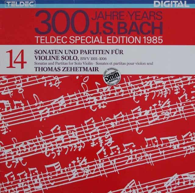 ツェートマイヤーのバッハ/無伴奏ヴァイオリンのためのソナタとパルティータ集 独TELDEC 3218  LP レコード