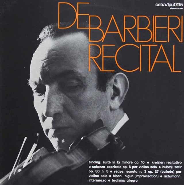 バルビエーリ/ヴァイオリン・リサイタル 伊Cetra 3218 LP レコード