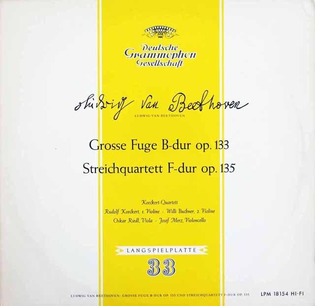 ケッケルト四重奏団のベートーヴェン/大フーガ&弦楽四重奏曲第16番 独DGG 3220 LP レコード