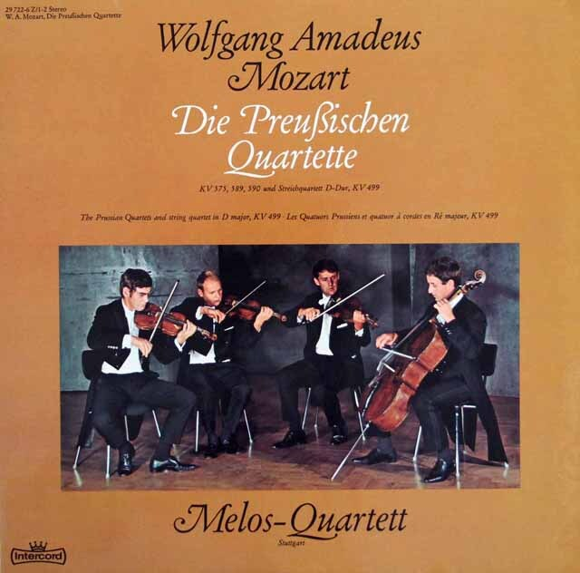 メロス四重奏団のモーツァルト/弦楽四重奏曲「プロシア王セット」&第20番 独Intercord 3220 LP レコード