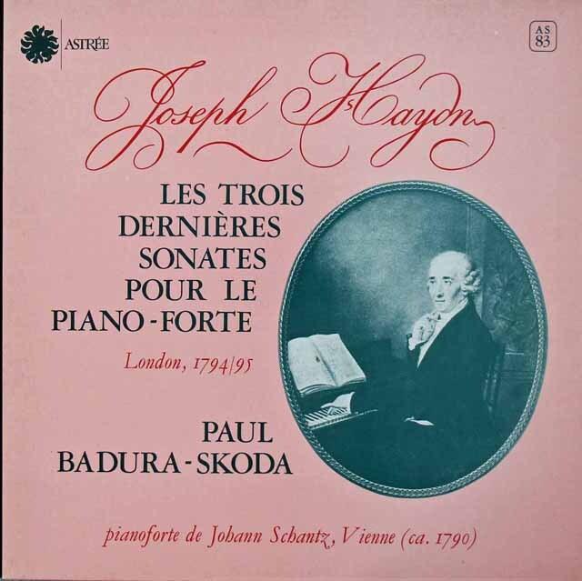 スコダのハイドン/ピアノソナタ第60、61 & 62番 仏ASTREE 3221 LP レコード