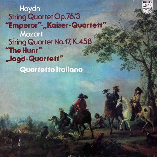 イタリア四重奏団のハイドン/「皇帝」 & モーツァルト/「狩り」 蘭PHILIPS 3221 LP レコード