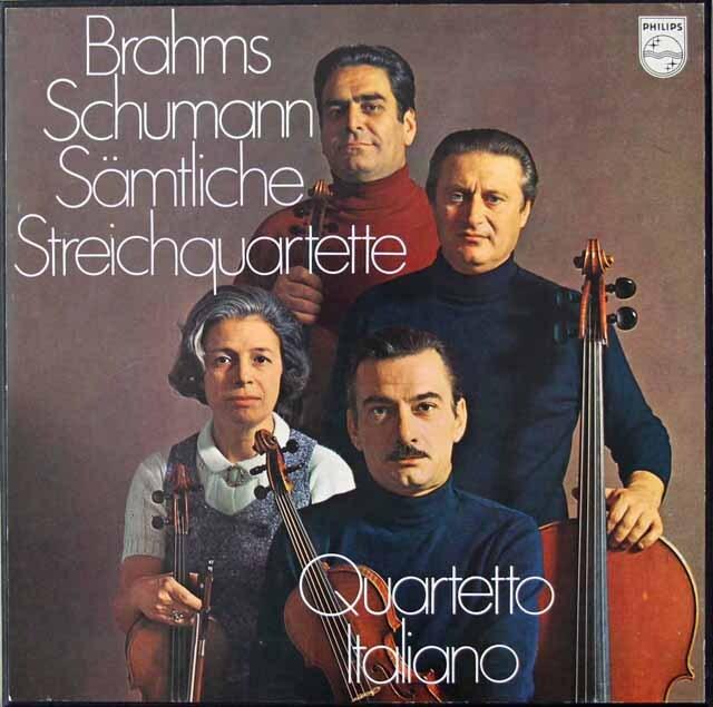 イタリア四重奏団のブラームス&シューマン/弦楽四重奏曲集 蘭PHILIPS  3221 LP レコード