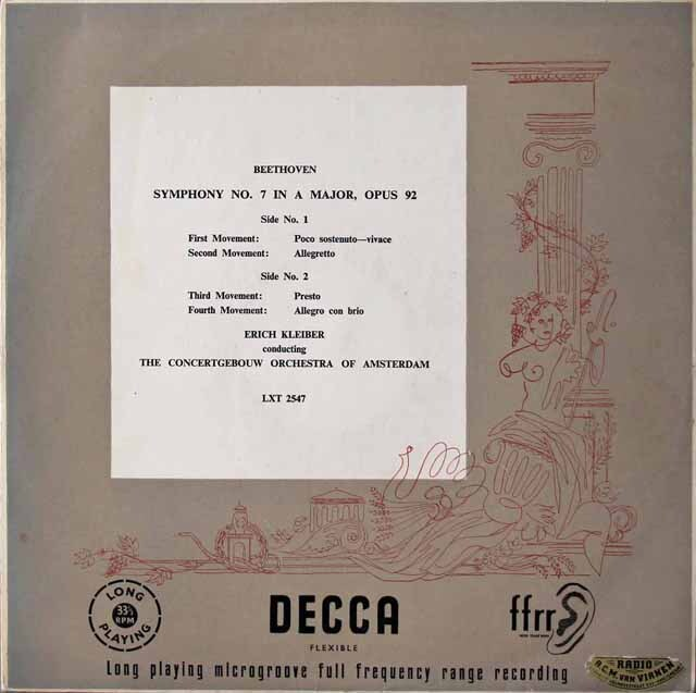 【オリジナル盤】 エーリヒ・クライバーのベートーヴェン/交響曲第7番 英DECCA 3222 LP レコード