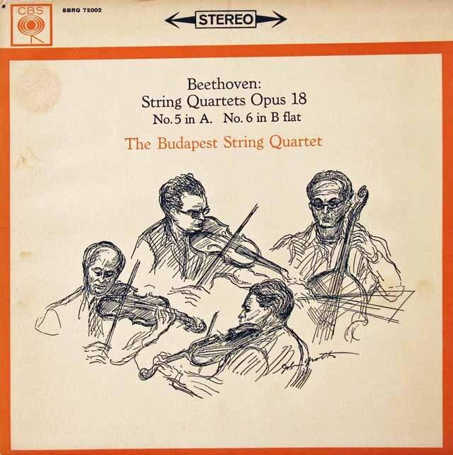 ブダペスト弦楽四重奏団のベートーヴェン/弦楽四重奏曲第5&6番 英CBS 3222 LP レコード