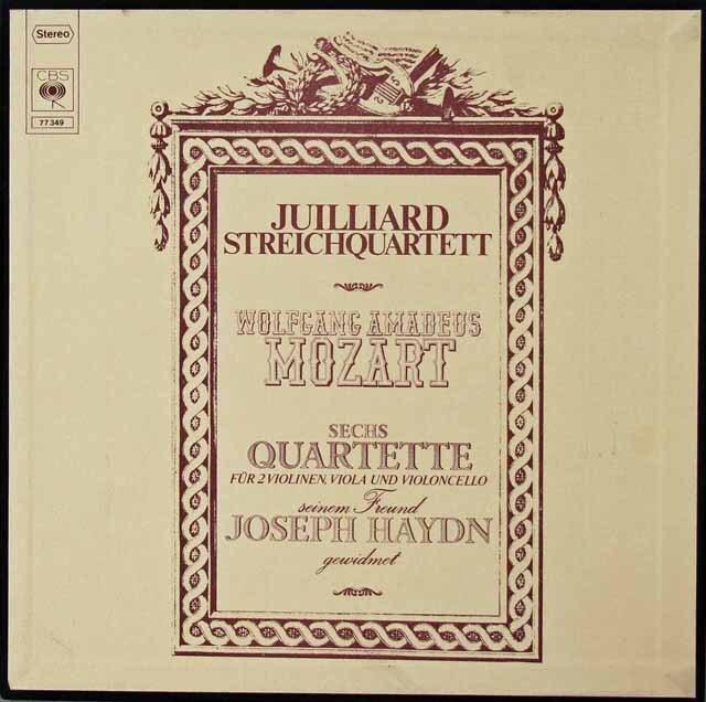 ジュリアード四重奏団のモーツァルト/弦楽四重奏曲「ハイドン・セット」 独CBS 3222 LP レコード
