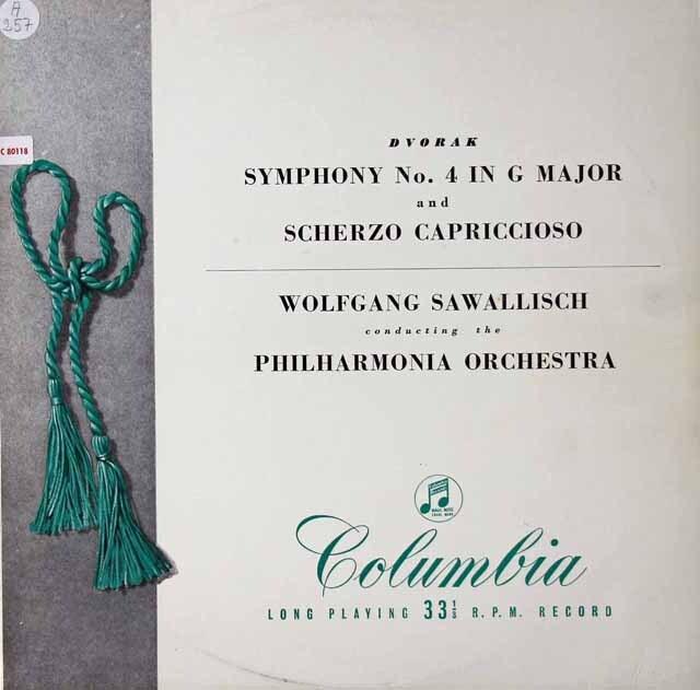 サヴァリッシュのドヴォルザーク/交響曲第4番&スケルツォ・カプリチオーソ 英Columbia 3222 LP レコード