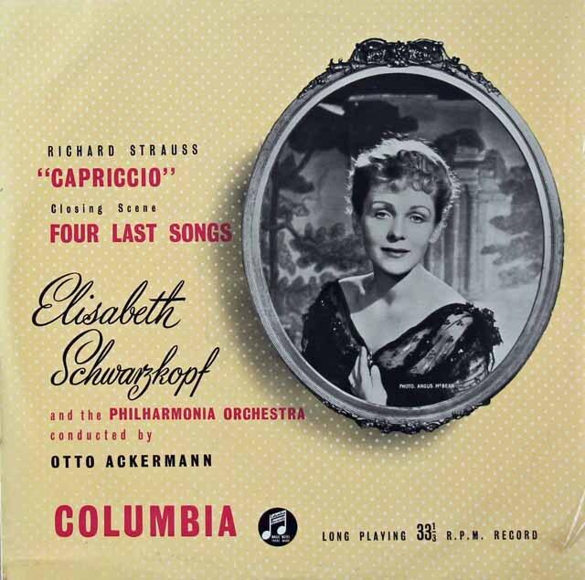 シュヴァルツコップのR.シュトラウス/「4つの最後の歌」ほか 英Columbia 3222 LP レコード