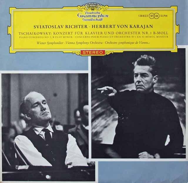 【赤ステレオ/独最初期盤】 リヒテル&カラヤンのチャイコフスキー/ピアノ協奏曲第1番 独DGG 3222 LP レコード