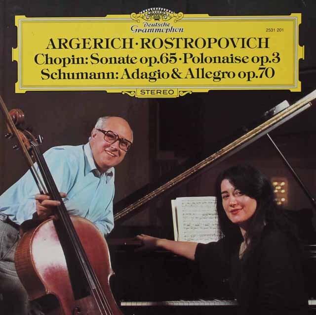 アルゲリッチ&ロストロポーヴィチのショパン/チェロソナタほか 独DGG 3222 LP レコード