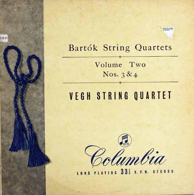 【オリジナル盤】ヴェーグ四重奏団のバルトーク/弦楽四重奏曲第3&4番  英Columbia 3223 LP レコード