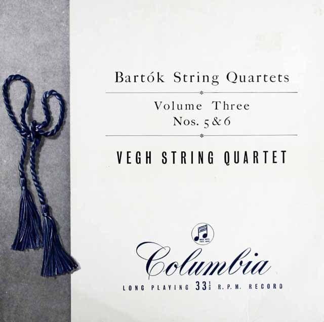 【オリジナル盤】ヴェーグ四重奏団のバルトーク/弦楽四重奏曲第5&6番  英Columbia 3223 LP レコード